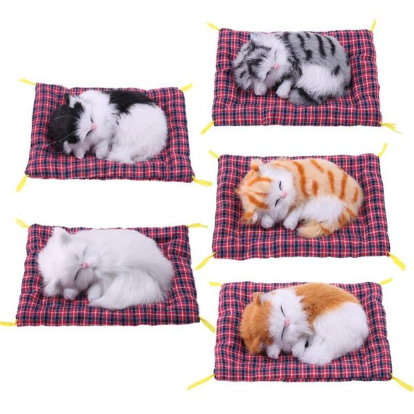 Cute Stuffed Toy Animal Simulation Doll Plush Sleeping Cat Toy with Sound