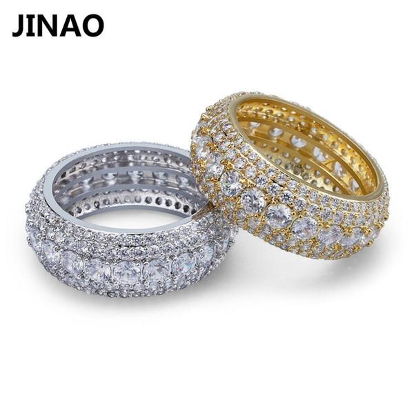 Hip Hop 5 Linhas de Luxo Cubic Zircons Homens Mulheres Anéis de Moda de Prata de Ouro cores Clássicas Do Punk Machos Anéis de Dedo Tamanho 7-11 J190714