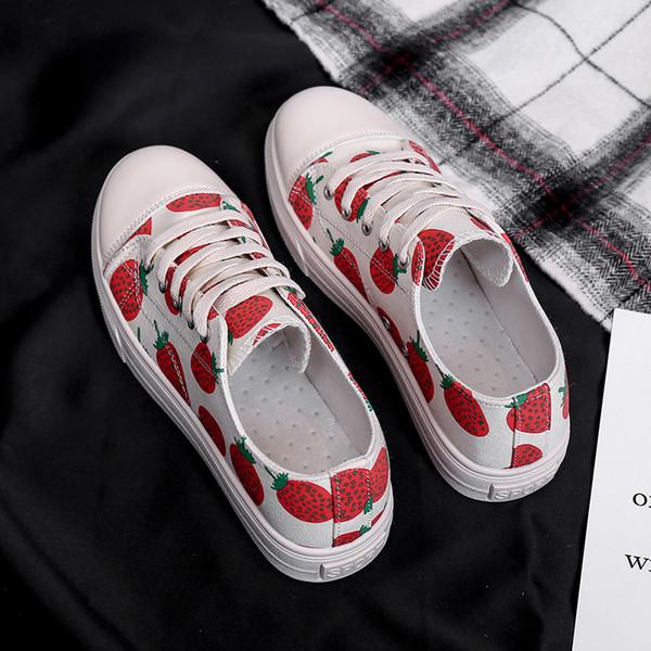 Chaussures de toile étudiant 2019 femmes printemps et en automne filet rouge fraise casual vent grande taille basse pour aider les chaussures