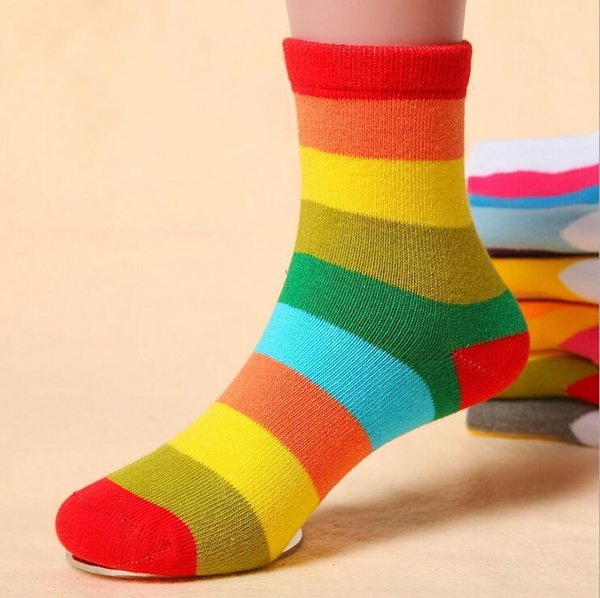21040P 5Pair/lot Cotton Spring Autumn Girls Kids Socks Children Warm Boys Striped Rainbow Fashion Colorful Kids Kawaii christmas