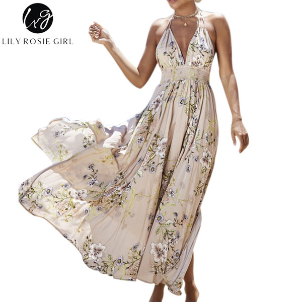 8da81b9958a5f 2019 Lily Rosie Girl Deep V Neck Boho Floral Print Dress Women Summer Beach  Off Shoulder Sexy Backless Maxi Long Dresses From Yage_shop, $24.59   ...