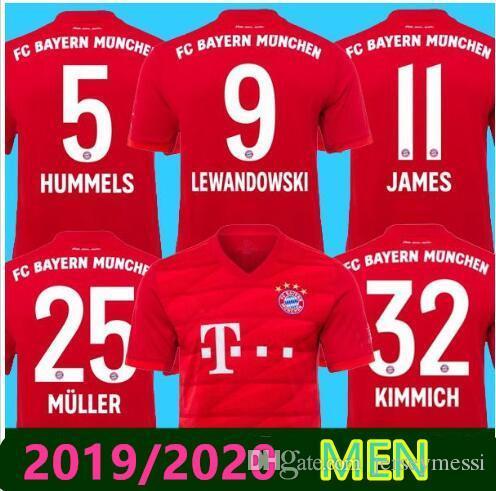 2019/2020 Bayern Münih futbol forması LEWANDOWSKI WAGNER JAMES forması 19/20 MULLER ROBBEN Kimmich Hummels futbol forması