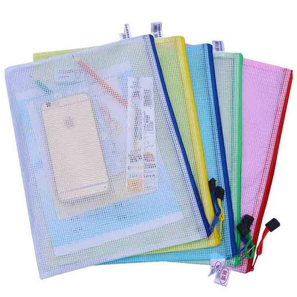 A4 A3 B4 B3 Waterproof Plastic Zipper Paper File Folder Book Pencil Pen Case Bag File document bag Phone bag for office student supplies