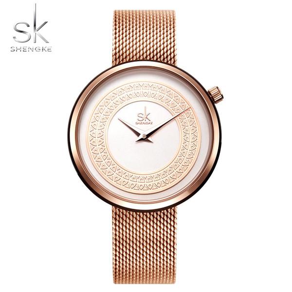 HENKE Luxus Frauen Uhren Rose Gold Fisch Muster Casual Fashion Kleid Weibliche Armbanduhren Stilvolle Dame Uhren Wasserdicht SHENKE Luxus W ...