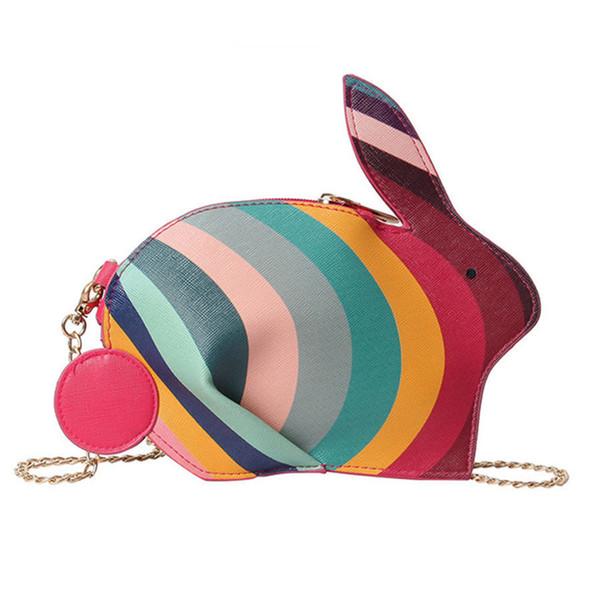 Cute Rabbit Shape Women Single Shoulder Bag Rainbow Color Women Message Crossbody Bag Mini Small Pu Leather Girls Bags 2019 New