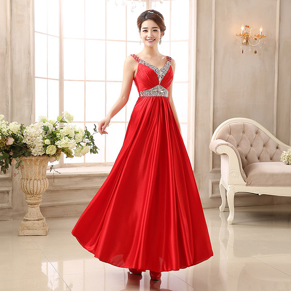 Mint Green Red Bridesmaid Dresses Under 100 V Neck Back With Straps Chiffon  Long Maid Of Honor Dress Cheap Real Image Plus Size Floor Length ...