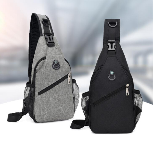 best selling DHL 50pcs Cross body Bag Men Polyester USB Chest Bag Sling bag Large Capacity Sport Cycling Bags 3Colors