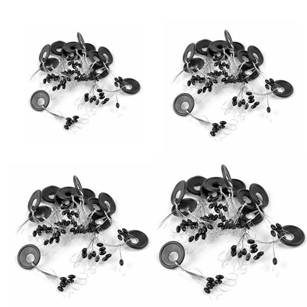10 piezas 6 en 1 Tamaño L Caucho negro Oval Stopper Pesca Bobber flotador