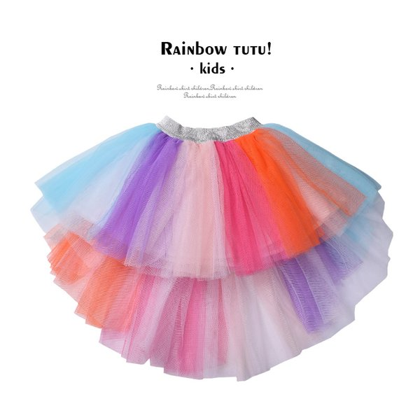 2 PCS Girls rainbow tutu skirt unicorn designed Hi low tulle skirt and headband for kids Birthday wedding party clothes costume