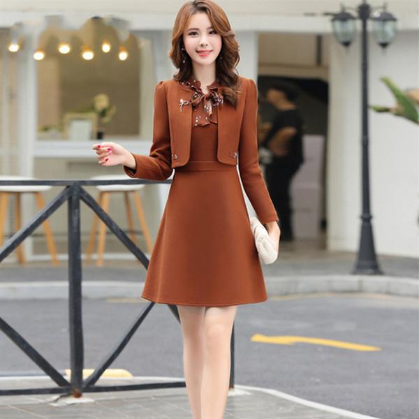 Women's Dress Suit Wool Jacket Coat Winter Autumn Winter Slim Dress Coat Two Pieces Set Casual Female Outwear
