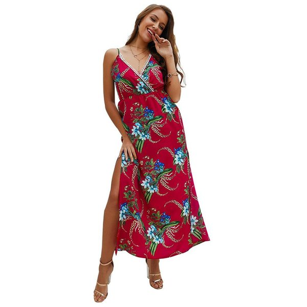 Summer Boho Floral Tunic Dresses Women Sexy Lace Piping Criss Cross Wrap Print Strap Split High Waist Midi A Line Vocation Dress Red