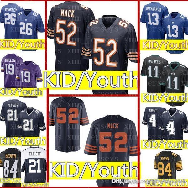 info for a7c75 465c8 2019 Kids 52 Khalil Mack Chicago Bears Jersey Youth Kid 26 Saquon Barkley  New York Giants 15 Patrick Mahomes 84 Antonio Brown 21 Cowboys Jerseys From  ...