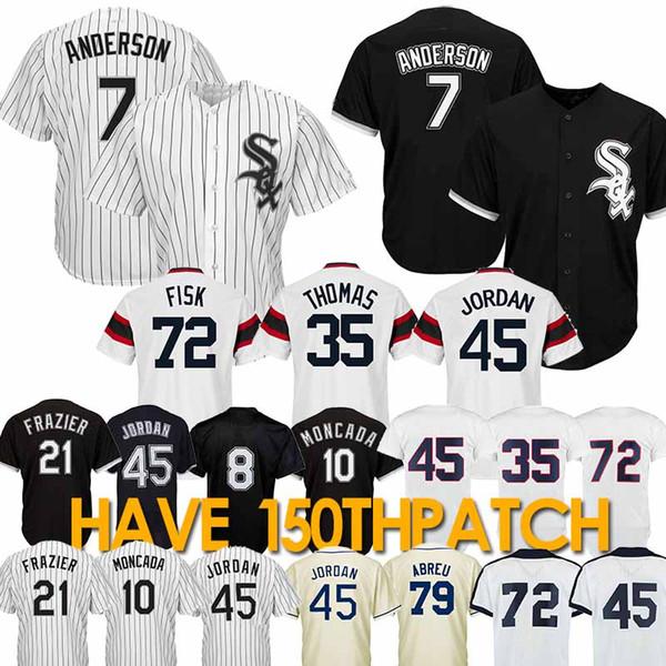 7 Maglia Tim Anderson Chicago White 10 Yoan Moncada So Maglie da baseball