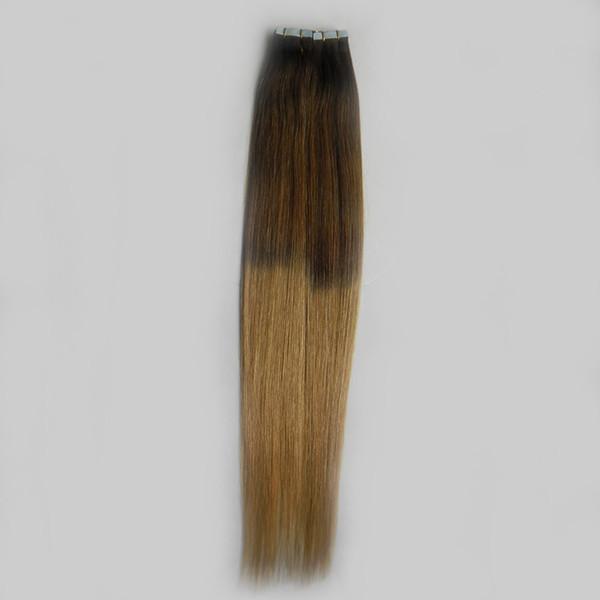 Sıcak T6 / 27 Kahverengi Ve Sarışın Bakire Remy Saç Ombre Iki ton Brezilyalı Düz Saç PU Cilt Atkı Bandı Insan Saç Uzantıları