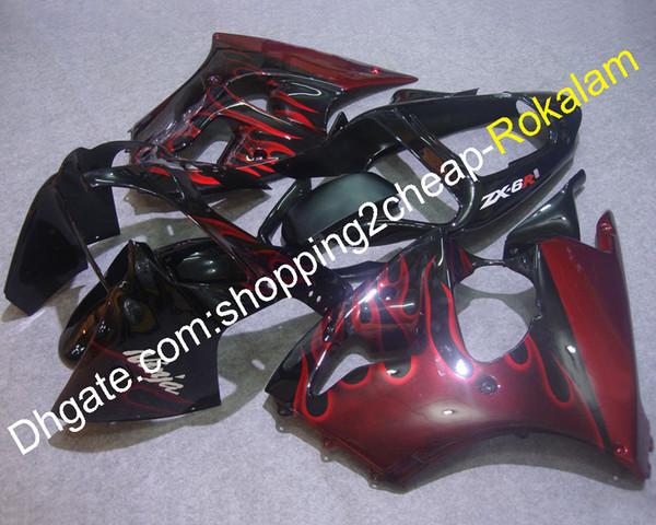ZX 6R Capots Ajustables Pour Carénages Kawasaki Ninja ZX6R 2000 2001 2002 ZX-6R 00-02 Carénage de moto Black Race Body