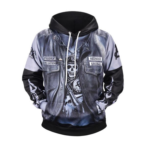 Punk Leather Jacket 3D Printed Mens Designer Hoodies Hip Hop Sweatshirt Casual Male Hooded High Street Pullover Winter Jumper