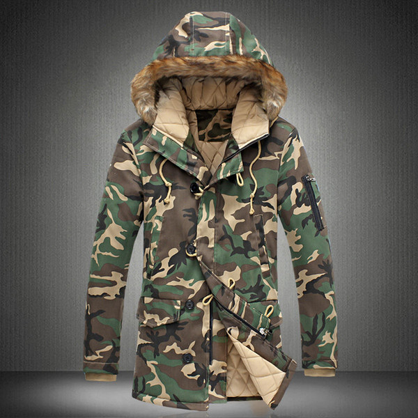 2018 New Brand Winter Men Thick Camouflage Jacket Men's Parka coat Male Hooded Parkas Jacket Men Military Overcoat