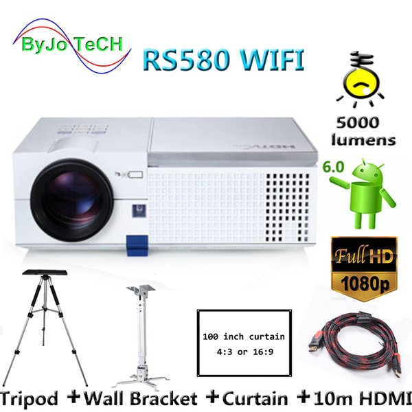 best selling ByJoTeCH RS580 WIFI HD 1080P LED projector 5000 lumens Android 6.0 Bluetooth 3D Proyector Home Theater With 10m HDMI Tripod
