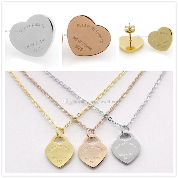 Silver gold color titanium tainle teel letter t heart earring necklace for women lady fa hion love wedding brand jewelry et