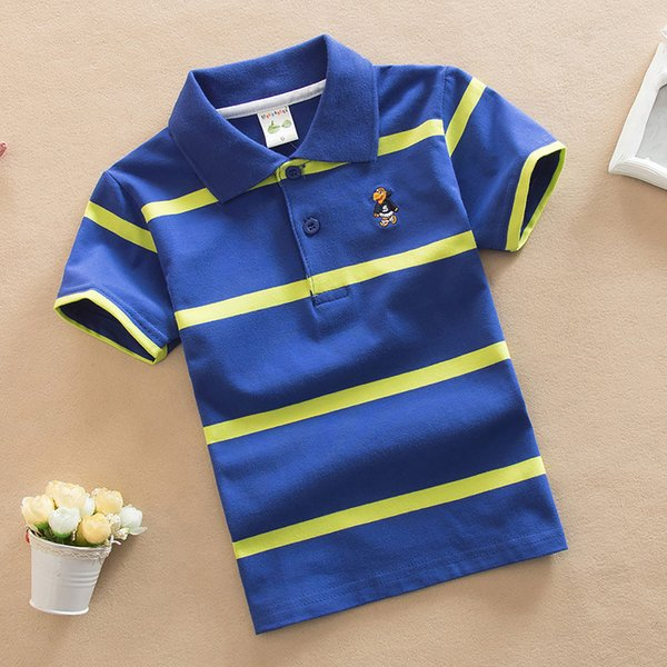 good quality new boys striped summer shirts cotton short sleeve turn-down collar buttoned sports tees school children clothes
