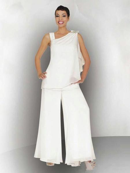 2019 Zarif Beyaz Anne Gelin Damat Pantolon Suit Dantelli Kristal Artı Boyutu Beyaz Şifon Örgün Düğün Konuk Elbiseleri