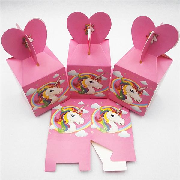 6pcs Unicorn Party Supplies Candy Box Gift Box Cartoon Theme Kid Boys Birthday Cupcake Party Decoration Baby Shower Favors