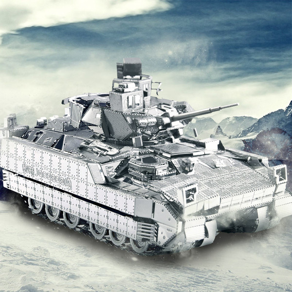 wholesale 3D Metal Puzzle Toy DIY Puzzles M2A3 BRADLEY IFV War Chariot Tank Model Educational Toys For Children Collection Gift