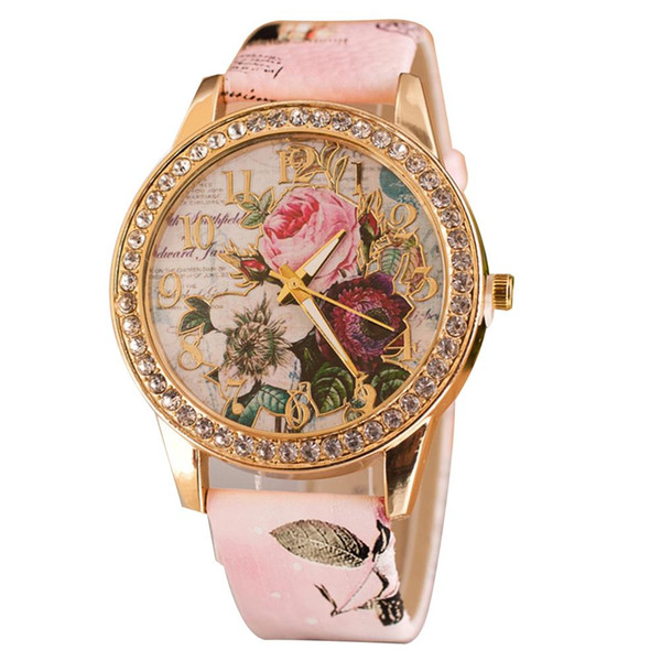 fashionable personality women luxury rhinestone inlaid flower round dial faux leather band quartz wrist watch ladies gift ladie
