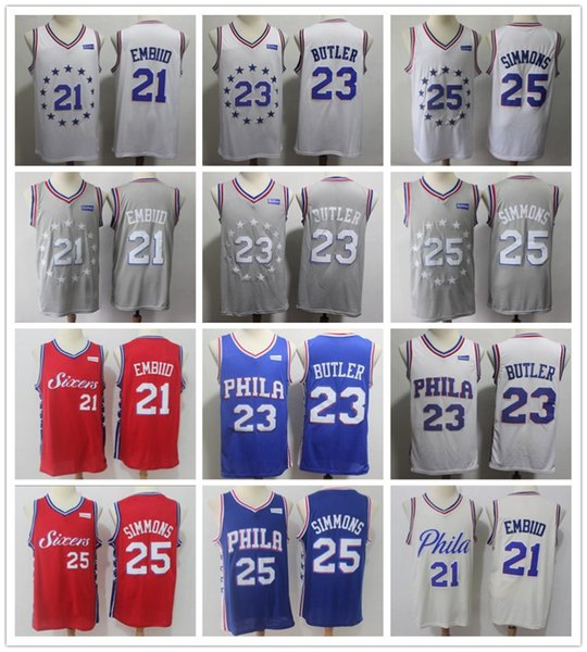 best loved 5deb1 76a39 2019 2019 New Earned City Edition 21 Joel Embiid Jersey White Grey Blue Red  23 Jimmy Butler 25 Ben Simmons Jerseys Shirt Stitched Shorts From ...