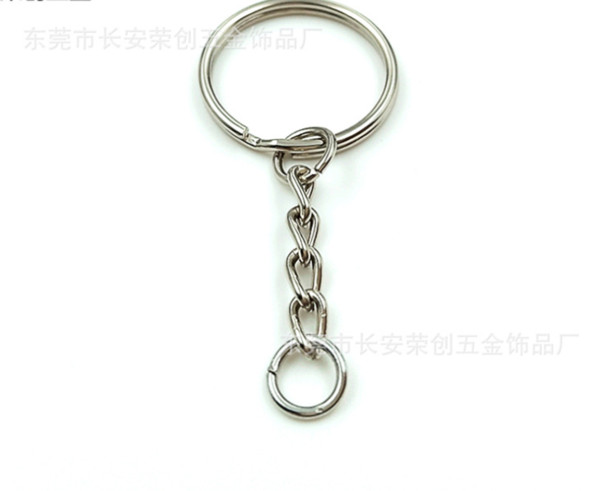 best selling 5000pcs Polished 25mm Keyring Keychain Split Ring with Short Chain Key Rings Women Men DIY Key Chains Accessories