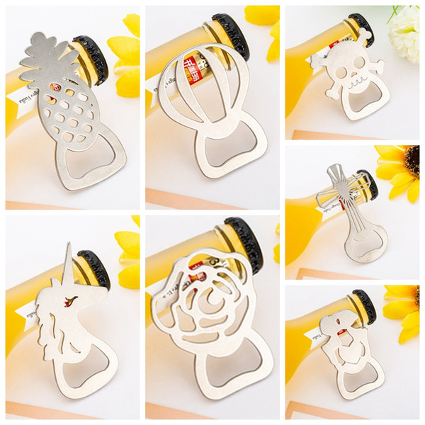 2019 new hot wedding souvenir / wedding gift bottle opener / creative metal stay cute, cross, rose beer bottle opener / 50 pieces for sale