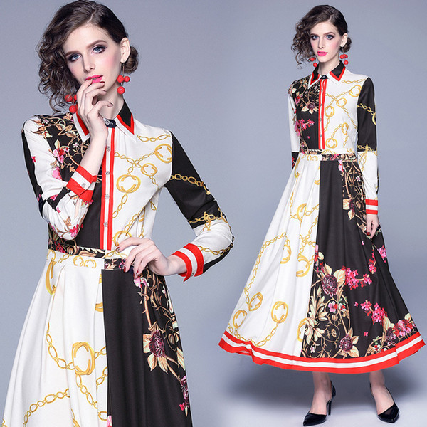 new womens Dress Fashion Broken Flower Color Collision Print Slim Fit Slim Length Sleeve Grace Temperament Big Dress