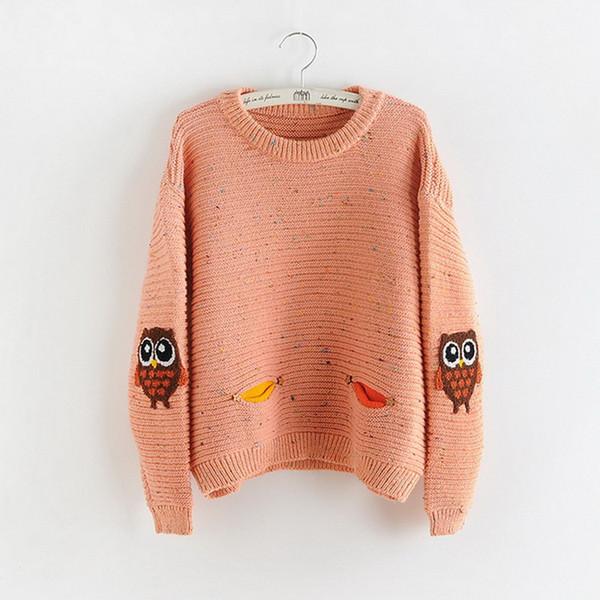 мода японская сладкая литературная и художественная симпатичная сова вязание печать цвет пятно рукавом свитер женщина горячие деньги хорошо продаются