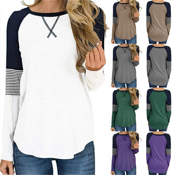 Patchwork Women T Shirt Long Sleeve O-neck T-shirt Pullover Casual Loose Shirts Blouse Spring Autumn Sweatshirt Girls Designer Top Clothing