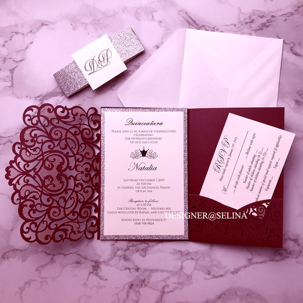 best selling Burgundy Wedding Invitations Silver Glitter Laser Cut Invitation Cards With Belt and Tag for Bridal Shower Quinceanera Invite w RSVP Card