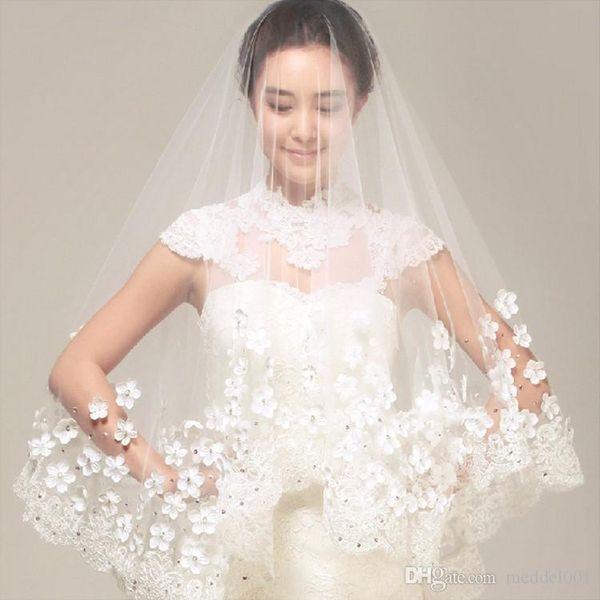 2019 simple fleur mariage blanc Tulle Veils une couche Cils bordure en dentelle de mariée Veils Custom Made Accessoires de mariée