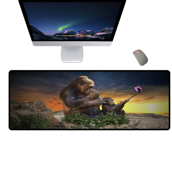 Cute and funny monkey series office large size mouse pad rubber non-slip waterproof keyboard pad