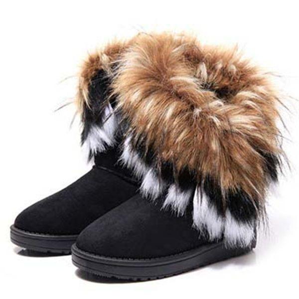 Natal Inverno Botas De Neve Mulheres Sapatos de Algodão Quente Mulher Moda Botas De Pele Do Falso Ankle Boots Planas Senhoras Sapatos Zapatos De Mujer