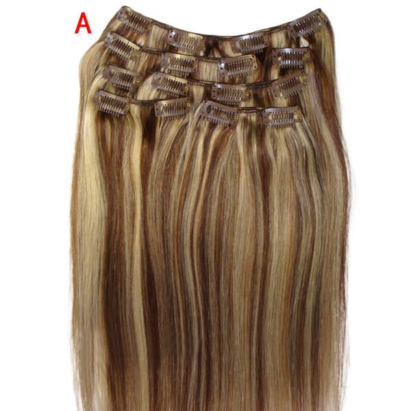 Parrucche da donna da 20 pollici Clip nelle estensioni dei capelli umani Remy reali Parrucche sintetiche ad alta densità