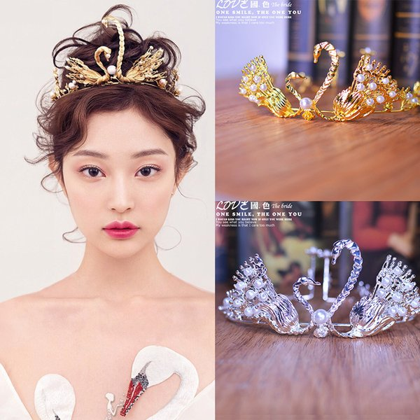 A piece women fashion gold swan queen hair jewelry bride wedding hairpin crown flower festival gift