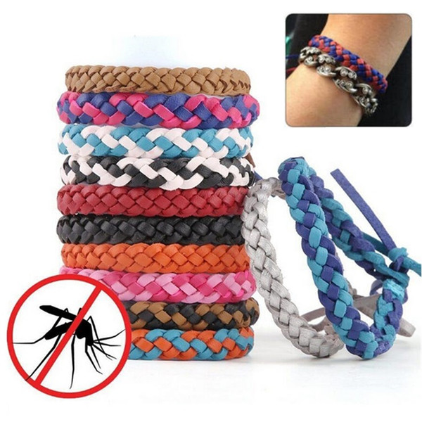 top popular Pest Control Anti Mosquito Repellent Bracelet Stretchable Leather Woven Hand Wristband For Adult Children Bug Insect Protection Bracelet 2019