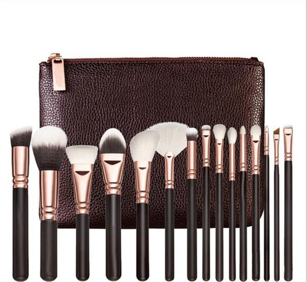 Brand Best quality 15PCS/Set Brush With PU Bag Makeup Brush Professional Brush For Powder Foundation Blush Eyeshadow Eyeliner Blending Penci