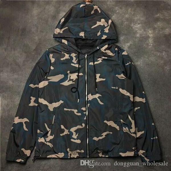 2019SS NEUE a1: 1 Hohe Qualität KANYE WEST Saison 5 ÜBERGRÖßE Männer Frauen Camouflage Jacken hip hop Mode Lässig Armee grün Mantel
