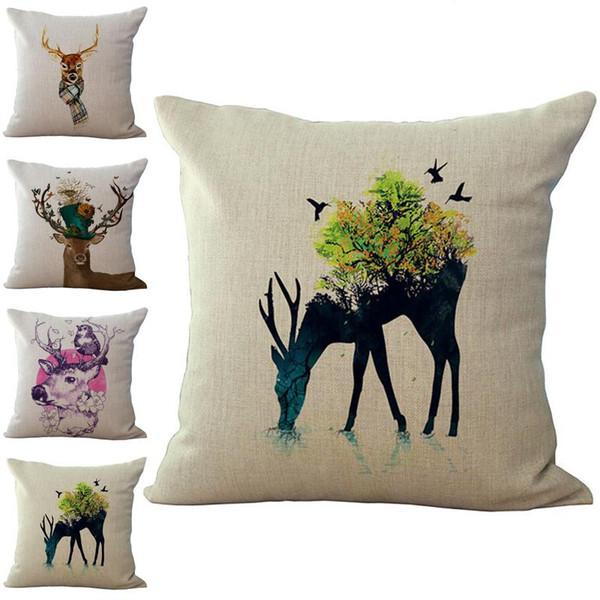 Animal wapiti renne taie d'oreiller housse de coussin lin coton jet taie d'oreiller canapé lit voiture décorative taie d'oreiller drop ship