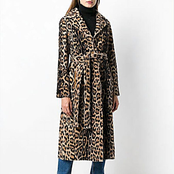 Women Fluffy Faux Fur Coat Winter Warm Leopard Print Long Sleeve Loose Outerwear Turn-down Collar Coats With Sashes