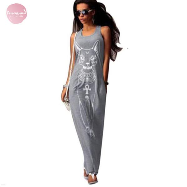 Katzen-Druck-lang Maxi Kleid Frauen-Platz Strand Bodycon elegante Abend-Partei-Kleider Tunika Vestidos S Xl Boho Hals 5