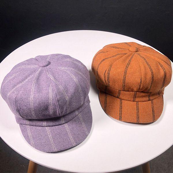 HT1903 New Autumn Winter Wool Hats for Women Female Berets Striped Octagonal Newsboy Caps Ladies Casual Duckbill Beret Caps Hats