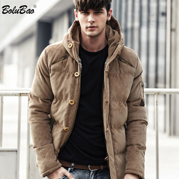 BOLUBAO New Men Giacca invernale Cappotto in cotone di qualità di qualità imbottito antivento spesso caldo morbido marchio di abbigliamento con cappuccio parka maschio T190907