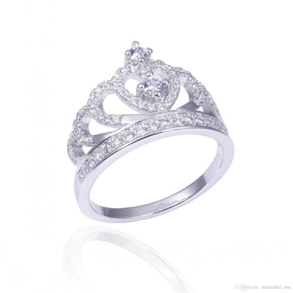Dame luxus 925 sterling silber krone ringe finger pave simuliert diamant-verlobungshochzeitsring für frauen schmuck sz 5-12