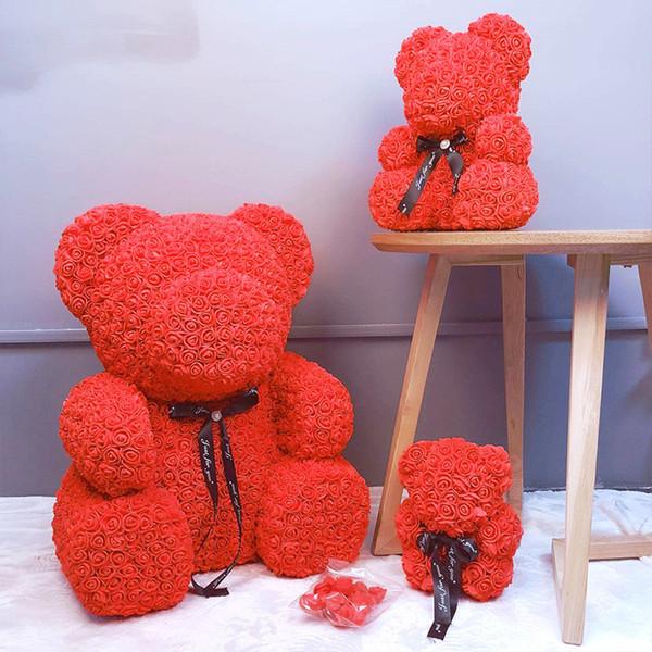 Vip Prezzo Drop Shipping 25 \ 40 Red Teddy Bear Rose Flower Regali di Natale artificiali per le donne Orso di peluche regalo di San Valentino